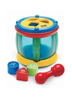 Chicco Shapes and Sounds Tambourine by Chicco. $17.99. From the Manufacturer                Chicco Shapes and Sounds Tambourine                                    Product Description                This Shape Sorter Drum is double the fun - it's two toys in one! The drum has a smiling face and three color buttons, so little ones can use their hands or the drum stick to make their own beats. There are melodies, drum sounds and funny effects, too. Flip it over to find a fun shape s...