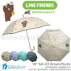 ร่มยาว 18 นิ้ว ลาย SET A3 สีเนื้อ Sticker Line Umbrella (ร่มสติ๊กเกอร์ไลน์) Line id: rdumbrella หรือ portrain www.rdumbrella.com