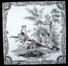 Minton Watteau Teeter Totter Tile ~ 1880 Antique Tiles, Vintage Tile, Kids Playing, Folk Art, Art Decor, Victorian, Paintings, Interiors, Ceramics