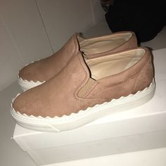 Chloe Ivy Scallop Slip On Sneakers Worn only once. Come with box and dust bags Chloe Shoes Sneakers
