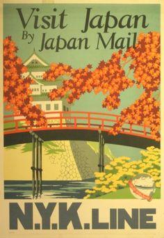 Visit Japan NYK Line, 1930s - original vintage poster by Yoshi listed on AntikBar.co.uk