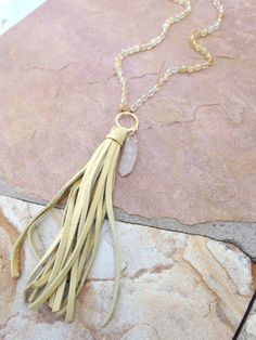 Citrine Hand Knotted Necklace with Extra Long Leather Tassel and Crystal Pendant