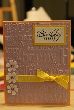 26 Ideas Birthday Card Embossing Folder For 2019 Birthday Card With Name, 18th Birthday Cards, Homemade Birthday Cards, Birthday Wishes Cards, Birthday Cards For Women, Bday Cards, Homemade Cards, Birthday Cards To Make, Birthday Images