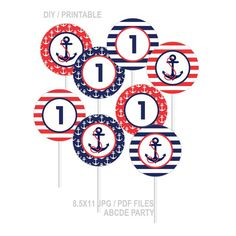 Instant Download Cupcake Toppers First Birthday decorations Nautical Birthday DIY Printable (PDN008) on Etsy, $3.00
