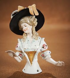 "The Vanity Fair - Strong Museum Half Dolls: 141 German Porcelain Half Doll ""Lady with Black Bonnet"""