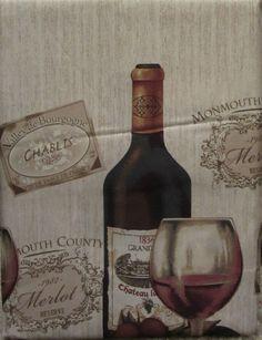 Vineyard Grapes Wine Bottles Glasses 3 Pc 24L Tiers Valance Set Kitchen  Curtains
