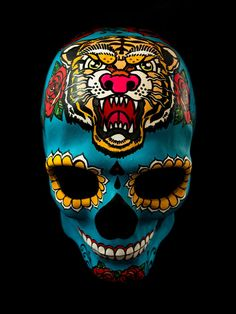 The Mexican Tiger Skull Mask is a hand painted paper mache mask in full size amazing full color tattoo inspiration design, its perfect for a masquerade party. When you purchase an Noir Masks, you are buying a one of a kind piece of art. There is no mass production; there is only the artist  Please note that items shipped to all other countries outside Spain will take 10 to 15 working days to reach you. $130,00  #skull #mask #tattoo #halloween #masquerade #carnival #diadelosmuertos