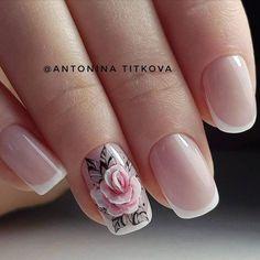 Nail Art Fleur, Rose Nail Art, Floral Nail Art, Rose Nails, 3d Nail Art, Flower Nails, Pink Nails, My Nails, French Nails