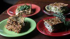 Matzo Pie - potato, pea, and artichoke with gremolata; leek, asparagus, mint, and lemon; spinach, feta, and dill.