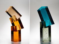 Upon first glance, I nearly mistookHeike Brachlow's glass sculpturesas finely carved gems and minerals.How insanely beautifulare these colorful tones of these pieces?Brachlow draws her inspiration from travel, human interaction, architecture and geometry.Honestly, love these . . .