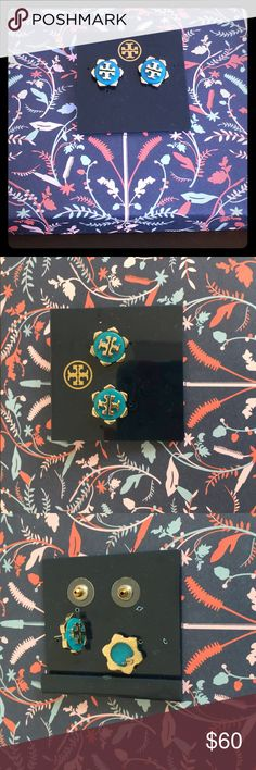"""Tory Burch Walter Gold & Blue earrings studs Tory Burch Walter Gold and Blue earrings studs  I am cleaning out my jewelry box so be sure to check out closet. Retail:  $88 each  Materials: 16-karat yellow gold plate. Notched hexagon framed round blue enamel center with signature Tory Burch double-""""T"""" logo medallion. Approximately 1/2"""" diameter. Post backs.  Condition: preowned condition. You will see slight discoloration from normal wear. Tory Burch Jewelry Earrings"""