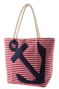 "Our red and white sailor striped anchor tote bag is the perfect getaway bag. Fabrication is a cotton/canvas blend. Bag Measures 12""L x 14""H"
