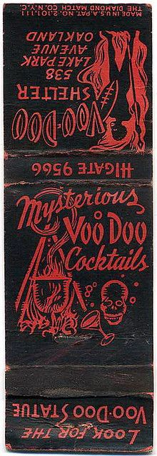 Vintage matchbook covers  Mysterious Voo Doo Cocktails