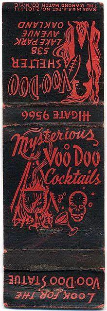 Mysterious Voo Doo Cocktails  matchbook