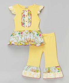 Loving this Yellow Floral Angel-Sleeve Top & Pants - Infant, Toddler & Girls on #zulily! #zulilyfinds