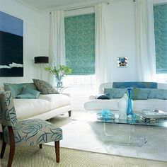 osborne and little rooms | Blue and white living room with strong patterns | housetohome.co.uk
