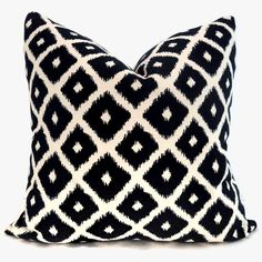 Reversible Blue and White Ikat  Decorative Pillow by PopOColor, $45.00