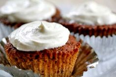 Moist and delicious apple carrot spice cupcakes with a goat cheese and cream cheese frosting.