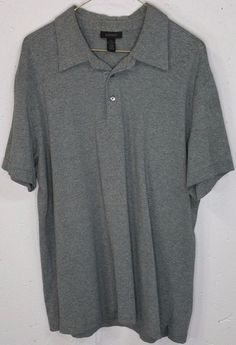 Express Mens Grey 95% Cotton 5% Spandex Stretch Short Sleeve Polo Shirt XL #Express #PoloRugby