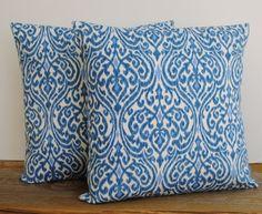 Two Waverly Srilanka Ikat blue pillow covers, 20x20, cushion, decorative throw pillow, decorative pillow, accent pillow