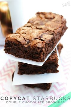 This Copycat Starbucks Double Chocolate Brownie recipe is out of this world! If you are used to ordering a chocolate brownie from Starbucks with your afternoon coffee, you need to try this homemade version! Brownie Recipes, Chocolate Recipes, Cake Recipes, Dessert Recipes, Chocolate Smoothies, Chocolate Shakeology, Frosting Recipes, Delicious Chocolate, Easy Desserts