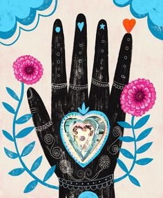 TITLE Hand of Love SIZE: with additional white border for framing PAPER: E Surface Paper. Accurate color, archival quality and a traditional photo finish. Please note that colors and clarity may differ on your monitor. Arrives sealed in a cello Illustrations, Illustration Art, Hippie Art, Hand Art, Sacred Art, Art Inspo, Watercolor Art, Folk Art, Art Projects