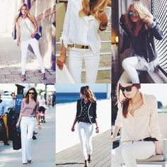 Tricks for styling white jeans.
