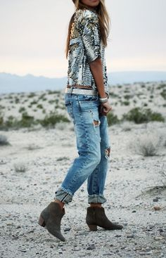 Slouchy sequins + boyfriend jeans.