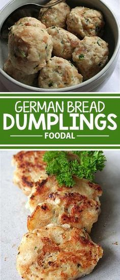 Use up day-old buns and bread in these famous Southern German dumplings, and enjoy a versatile side dish with any savory meal – at Oktoberfest, and beyond! This is a great way to add some Bavarian flair to your menu. Bread Dumplings Recipes, Dumpling Recipe, Chicken Dumplings, German Recipes Dinner, Dinner Recipes, German Food Recipes, French Recipes, Recipes With Old Bread, Dishes With Bread