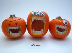 Pumpkin Teeth- Halloween isn't the same without pumpkins. This year, take your pumpkins to the next level by adding some terrifying teeth! These toothy mini pumpkins were made by adding plastic vampire fangs in a mouth opening. This simple trick produces great results, and is super easy to do. No special carving required! This is a fast, fun, and easy project to complete. All you need to make your own are: plastic vampire teeth (mine glow in the dark) mini pumpkins sharp knife