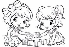 baby Strawberry Shortcake and baby Cherry jam playing blocks Baby Coloring Pages, Princess Coloring Pages, Disney Coloring Pages, Printable Coloring Pages, Coloring Pages For Kids, Coloring Sheets, Coloring Books, Bijoux Harry Potter, Strawberry Shortcake Coloring Pages