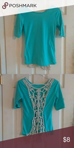 Open back Summer crochet top Light blue t shirt short quarter sleeves back is open with crochet. Very sexy in time for Summer!! Doesn't have a tag size Small/Medium Tops Blouses
