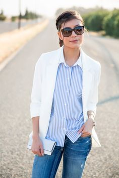 Retro striped button down shirt and a white blazer outfit - Visit Stylishlyme.com for more outfit photos and fashion, style tips