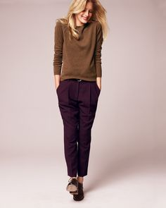 Wool Crepe Cropped Ankle Pant