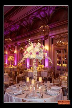 Elegant Modern Spring Pink Purple White Centerpiece Centerpieces Indoor Reception Place Settings Wedding Flowers Photos & Pictures - WeddingWire.com