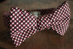 Red Black and White Checkered Bow Tie Handmade by LordWallington, $45.00