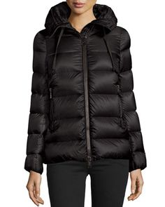 Serinde+Hooded+Short+Puffer+Jacket,+Black+by+Moncler+at+Neiman+Marcus.