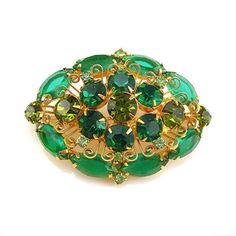 Green Rhinestone Brooch - Openback Stones - Vintage 1960s Goldtone Setting - Emerald, Peridot, & Mint Green Rhinestones - Costume Jewelry