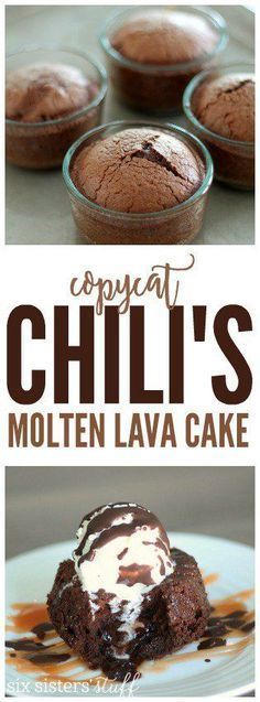 Copycat Chili's Molten Lava Cake on http://SixSistersStuff.com | You will love this moist chocolate cake with a gooey center and topped with melty vanilla ice cream and chocolate shell topping. And it only takes 25 minutes to make! Seriously, it is perfection!