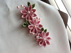 Hair Flowers  Pink Kanzashi Flowers  Hair by LihiniCreations, $15.00