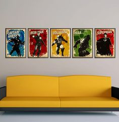 Superheroes Vintage Series 1 - Captain America, Iron Man, Wolverine, Hulk and Superman 11X17 Print Set