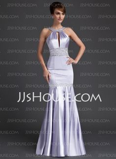 Evening Dresses - $139.99 - Mermaid Scoop Neck Sweep Train Charmeuse Evening Dress With Ruffle Beading Sequins (017002265) http://jjshouse.com/Mermaid-Scoop-Neck-Sweep-Train-Charmeuse-Evening-Dress-With-Ruffle-Beading-Sequins-017002265-g2265
