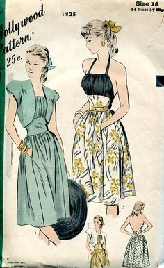 Sewing Patterns Vintage Out of Print Retro,Over 7000 ,Vogue Simplicity McCall's - Hollywood 1825 Retro 1940's Halter Dress Bolero Jacket 34