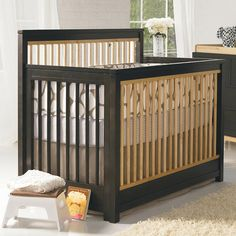 Delightful Love The Two Tone Wood On This Baby Crib #nursery