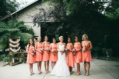 black and peach wedding party