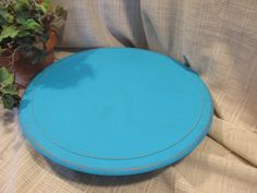 Lovey Lazy Susan, Repurposed, Look of Solid Wood, Pretty Turquoise, Cottage Chic, Cottage Beach Distressed Decor by ClassicMontage on Etsy
