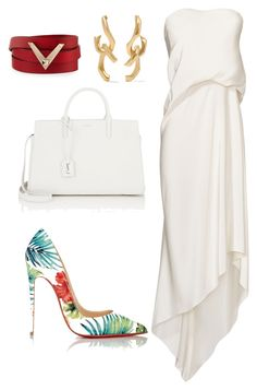 style theory by Helia by heliaamado on Polyvore featuring polyvore fashion style Cédric Charlier Christian Louboutin Yves Saint Laurent Valentino Annelise Michelson clothing