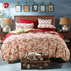 Red Floral Satin Bed Set Luxury Egyptian Cotton Bedding Set King Queen Size High Quality Beige Bed Linen Duvet Cover Set Z21