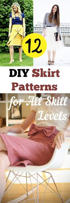 DIY Skirt Patterns and Tutorials. Cute skirt ideas for all sewing skill levels.