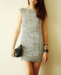 Geometric Patterns Print Backless Dress - Dresses - Clothing